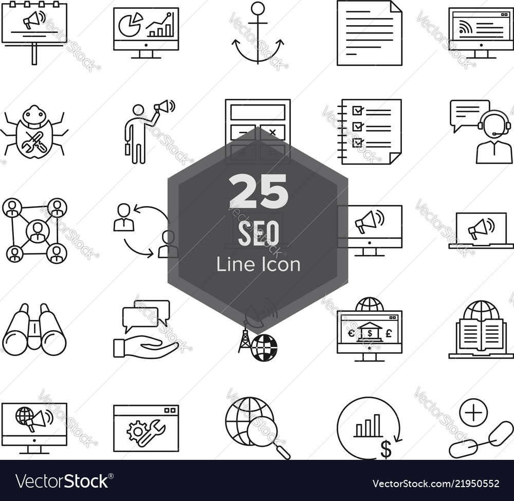 25 Seo Search Engine Optimization Line Icon Set Vector Image Diagram