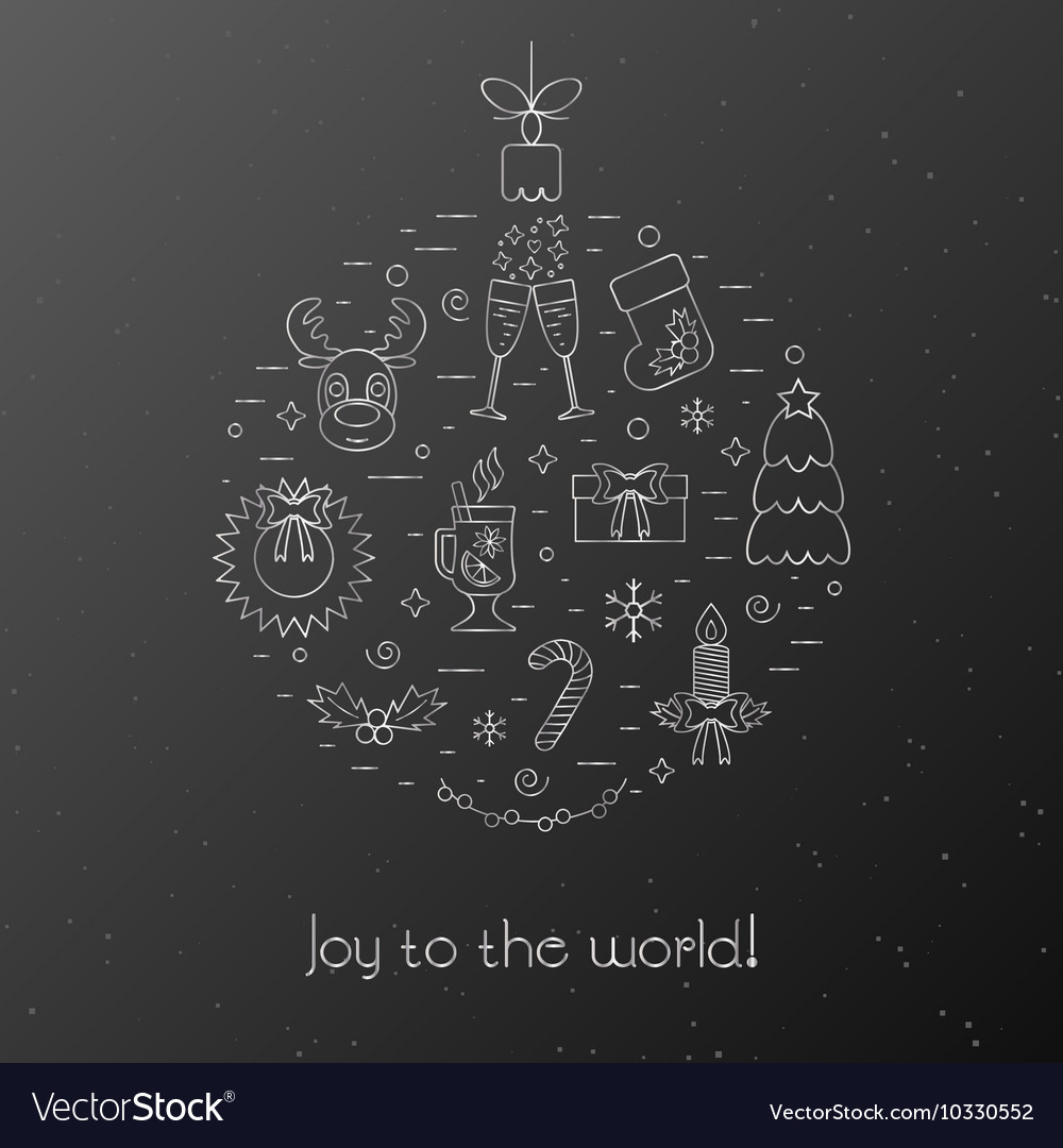 Black Card With Greetings For The Christmas And Vector Image