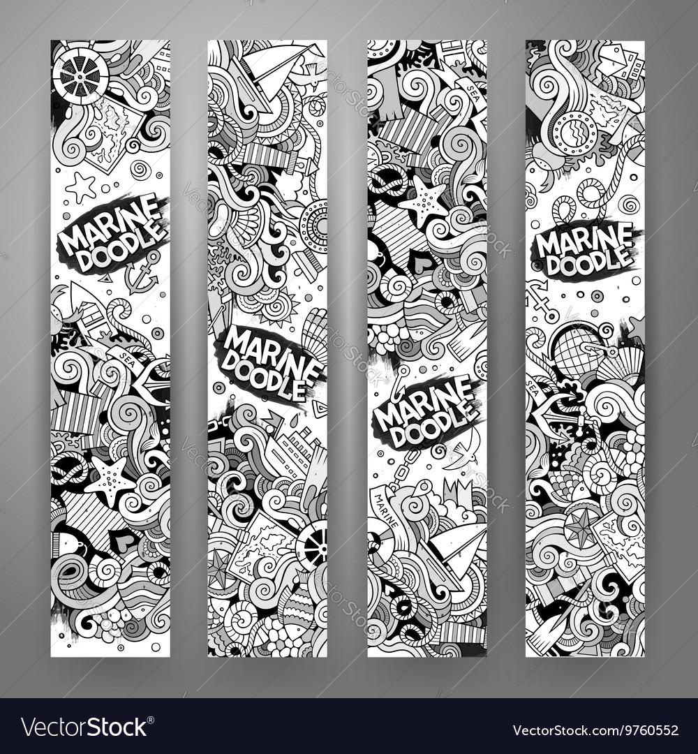 Cartoon line art marine nautical banners