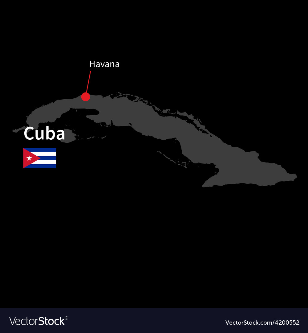 Detailed map of Cuba and capital city Havana with vector image