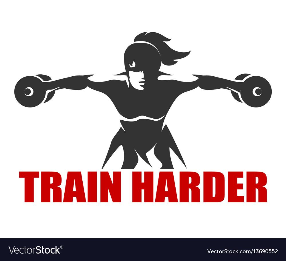 Fitness emblem with slogan train harder