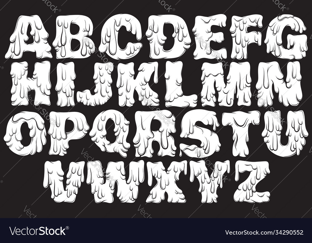 Melting type trendy font made in hand drawn line