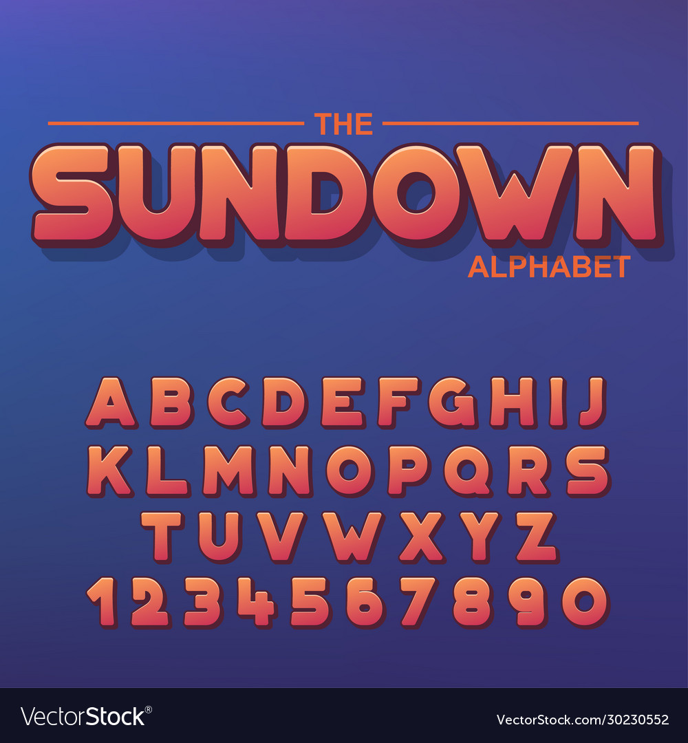 Modern bold font and alphabet font with shadow