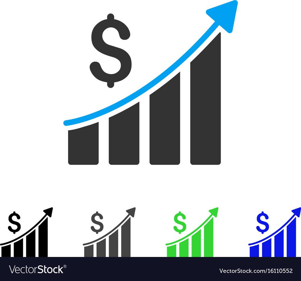 Sales growth bar chart flat icon vector image