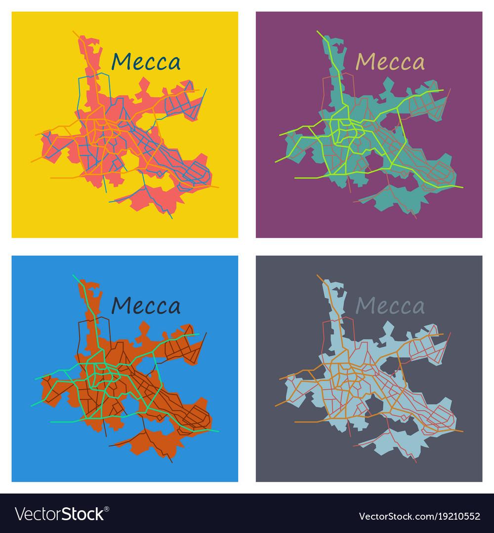 Set of mecca map saudi arabia flat Royalty Free Vector Image