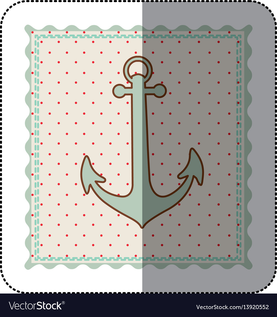 Sticker frame with silhouette of anchor with