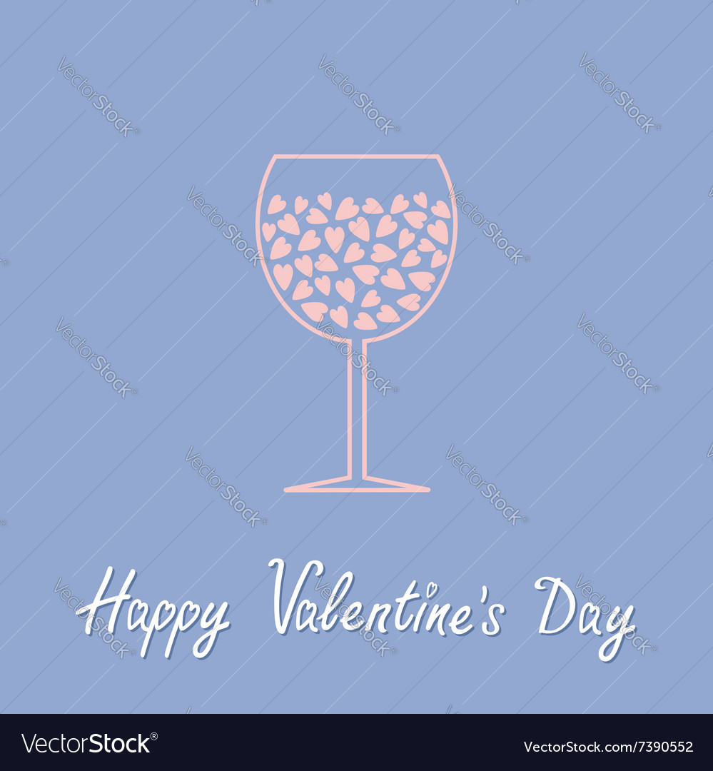 Wine Glass With Hearts Inside Happy Valentines Day