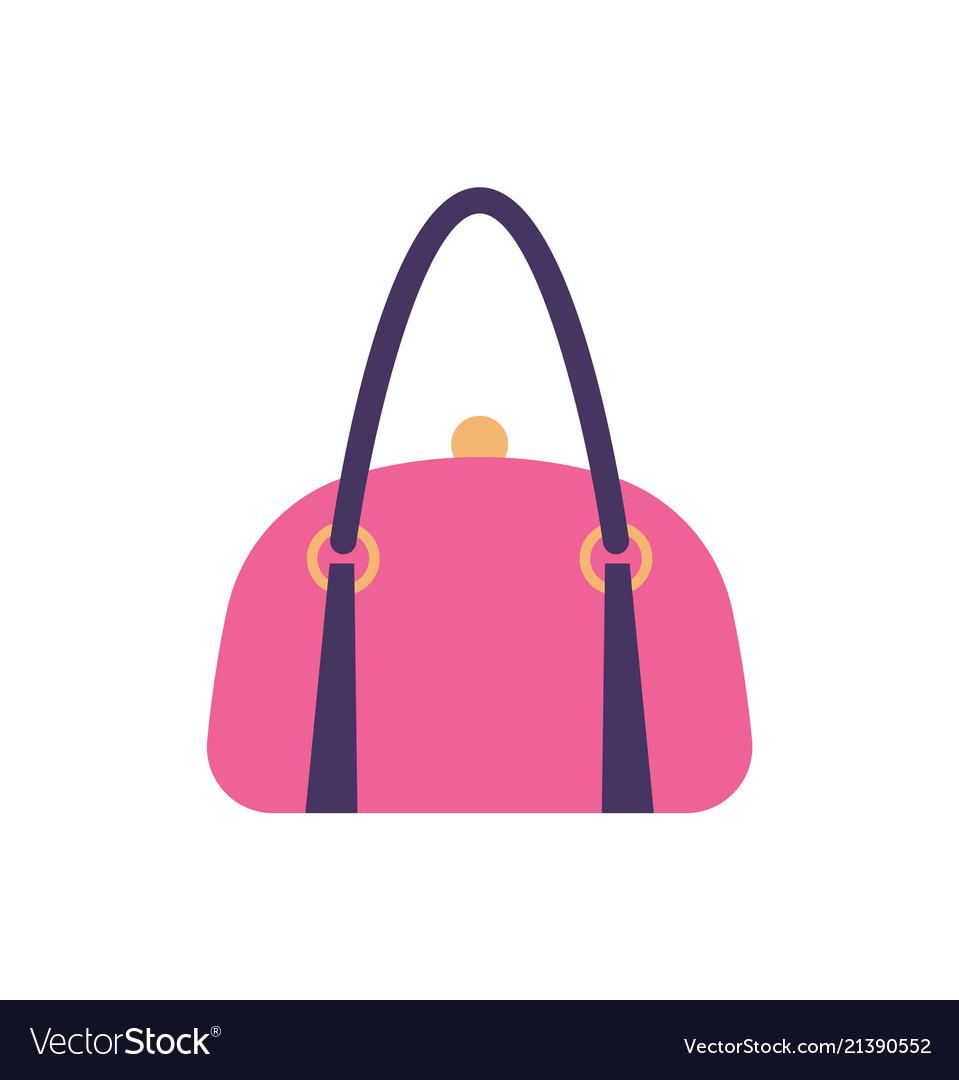 Women Pink Leather Handbag Back Handle