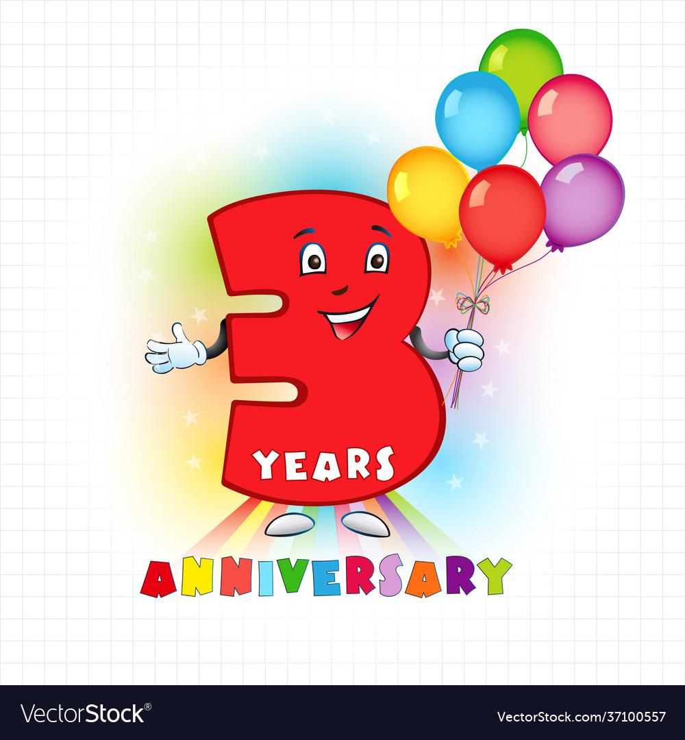 3 anniversary funny digits