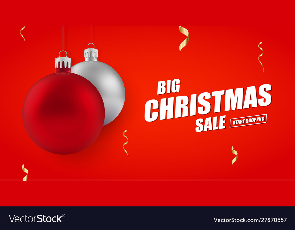 Christmas And New Year Holiday Sale Ad Banner Vector Image