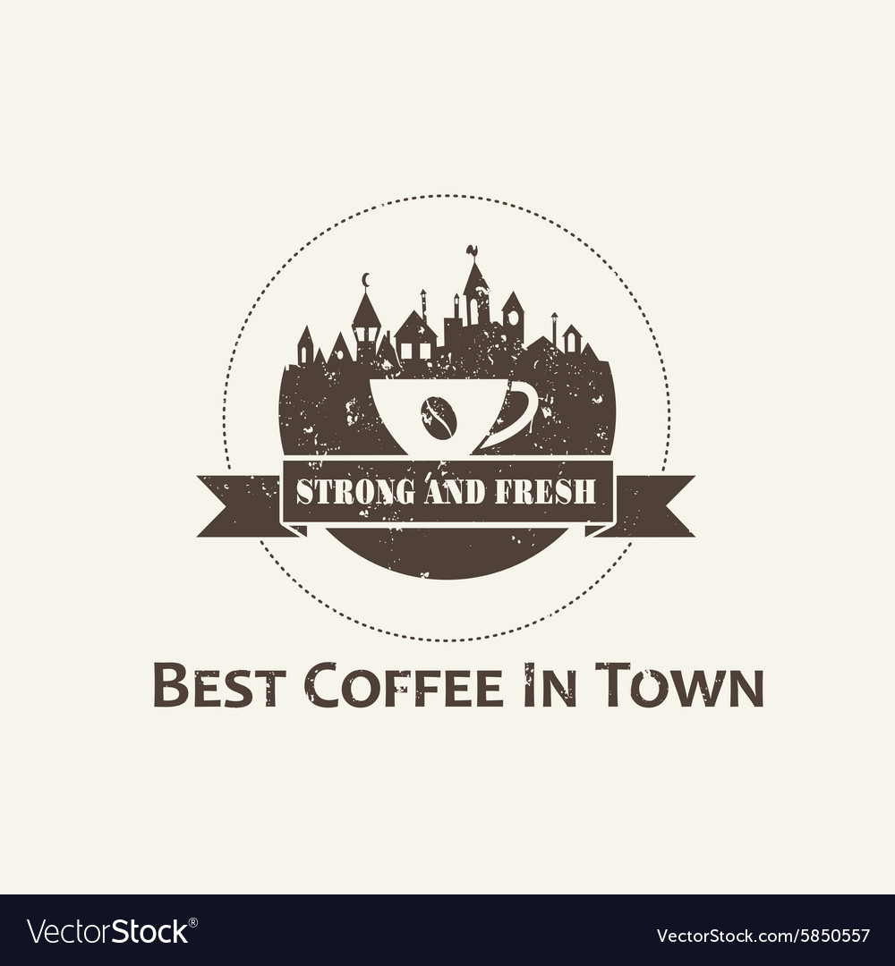 Coffee cup with town background label