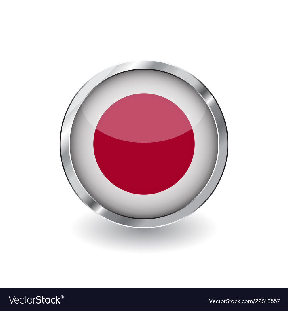 2e6e05ede33b Flag of japan button with metal frame and shadow Vector Image