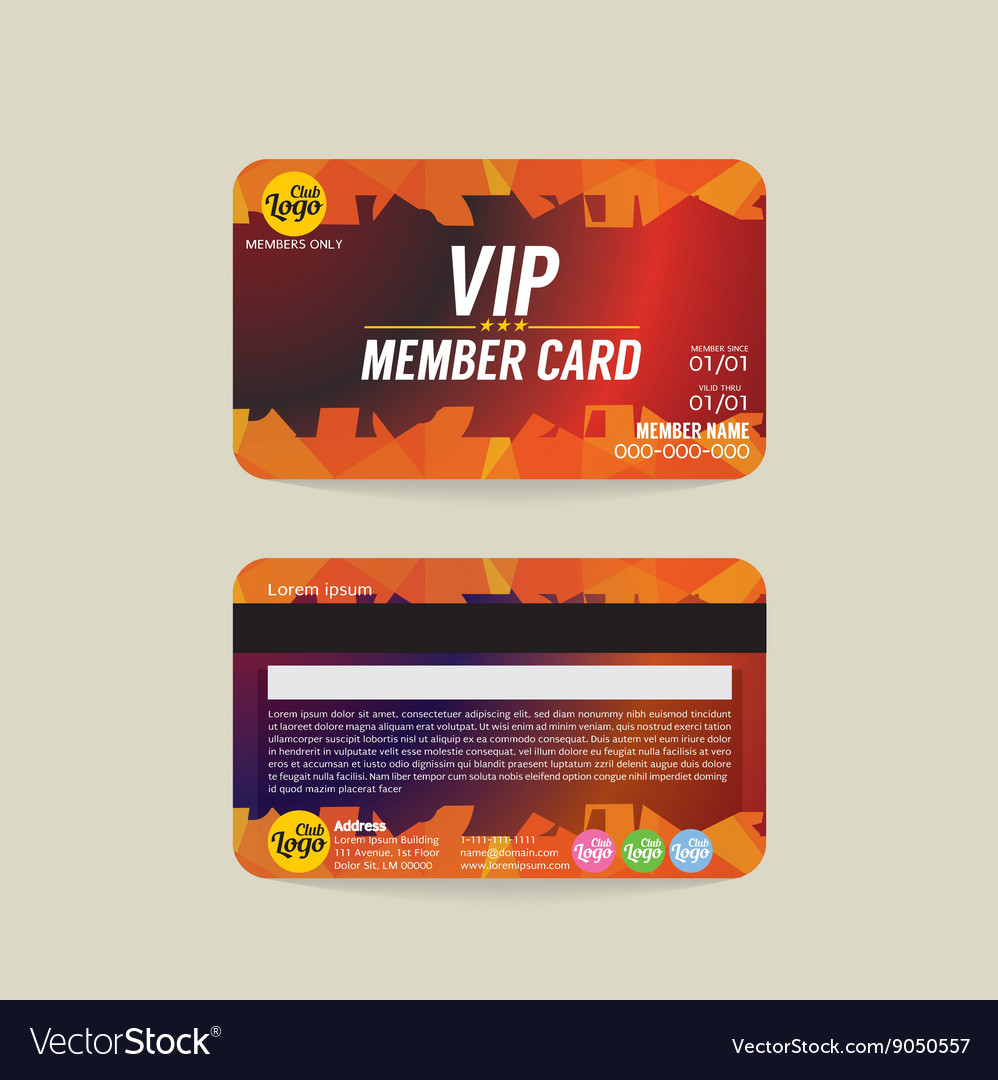Front And Back Vip Member Card Template Royalty Free Vector