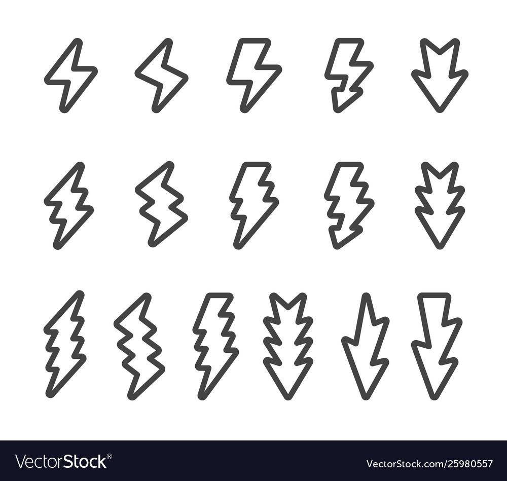 Lightning line icon set