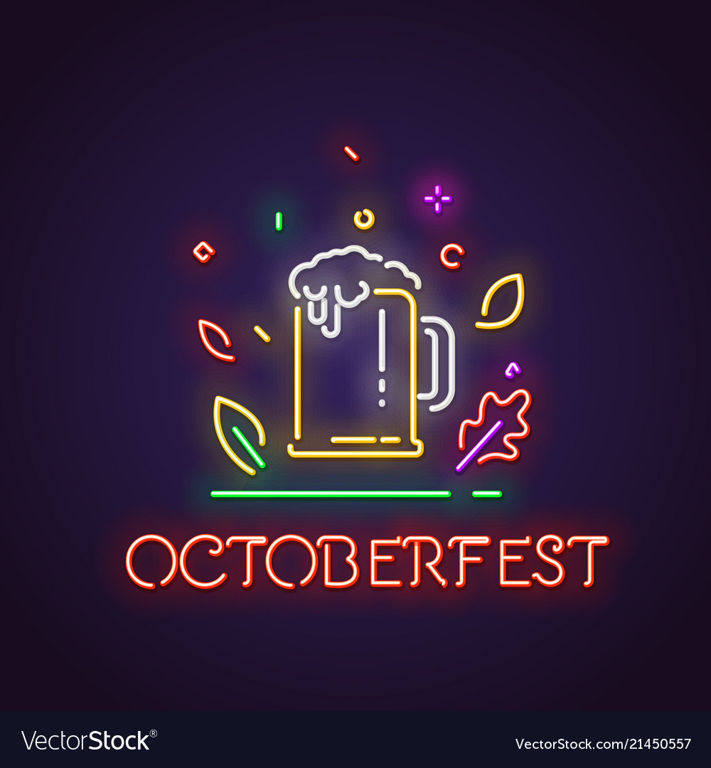 Oktoberfest and glass of beer neon sign