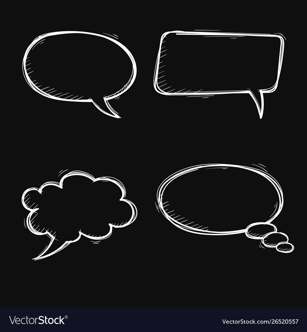 Speech bubbles hand drawn sketch on black