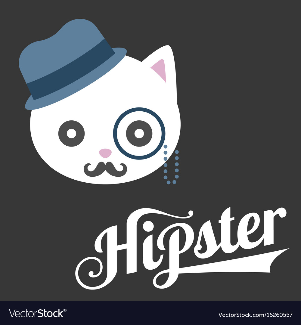 Typography hipster and cat cartoon