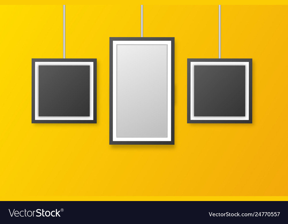 Wall picture frame templates isolated on orange