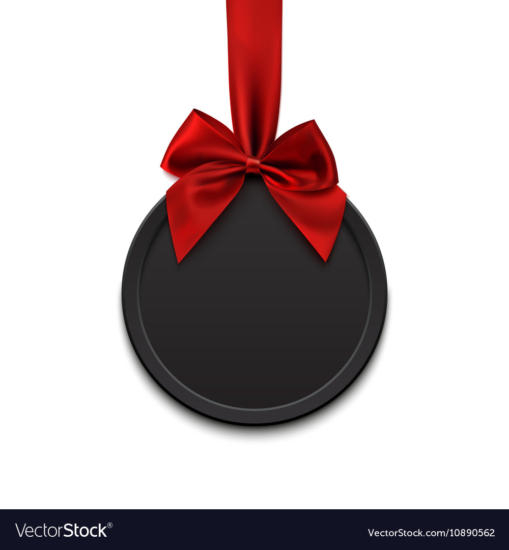 Blank black round banner with red ribbon and bow vector image