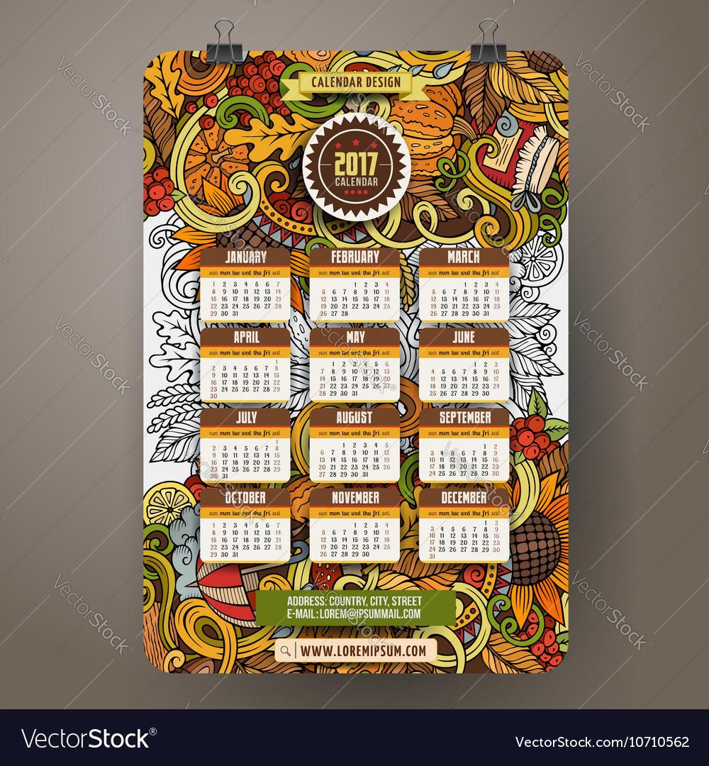 Cartoon Autumn doodles 2017 calendar