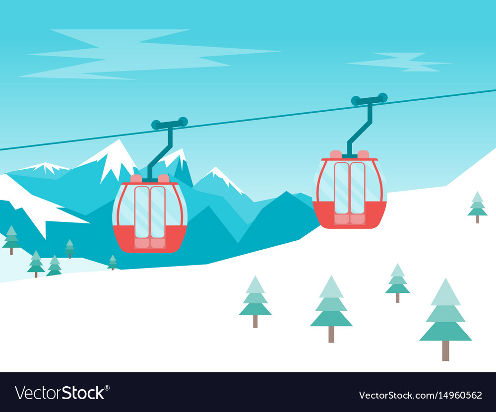 Cartoon car cabins cableway in mountains