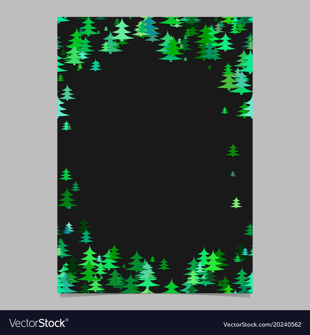 Color Christmas Pine Tree Flyer Template Blank Vector Image