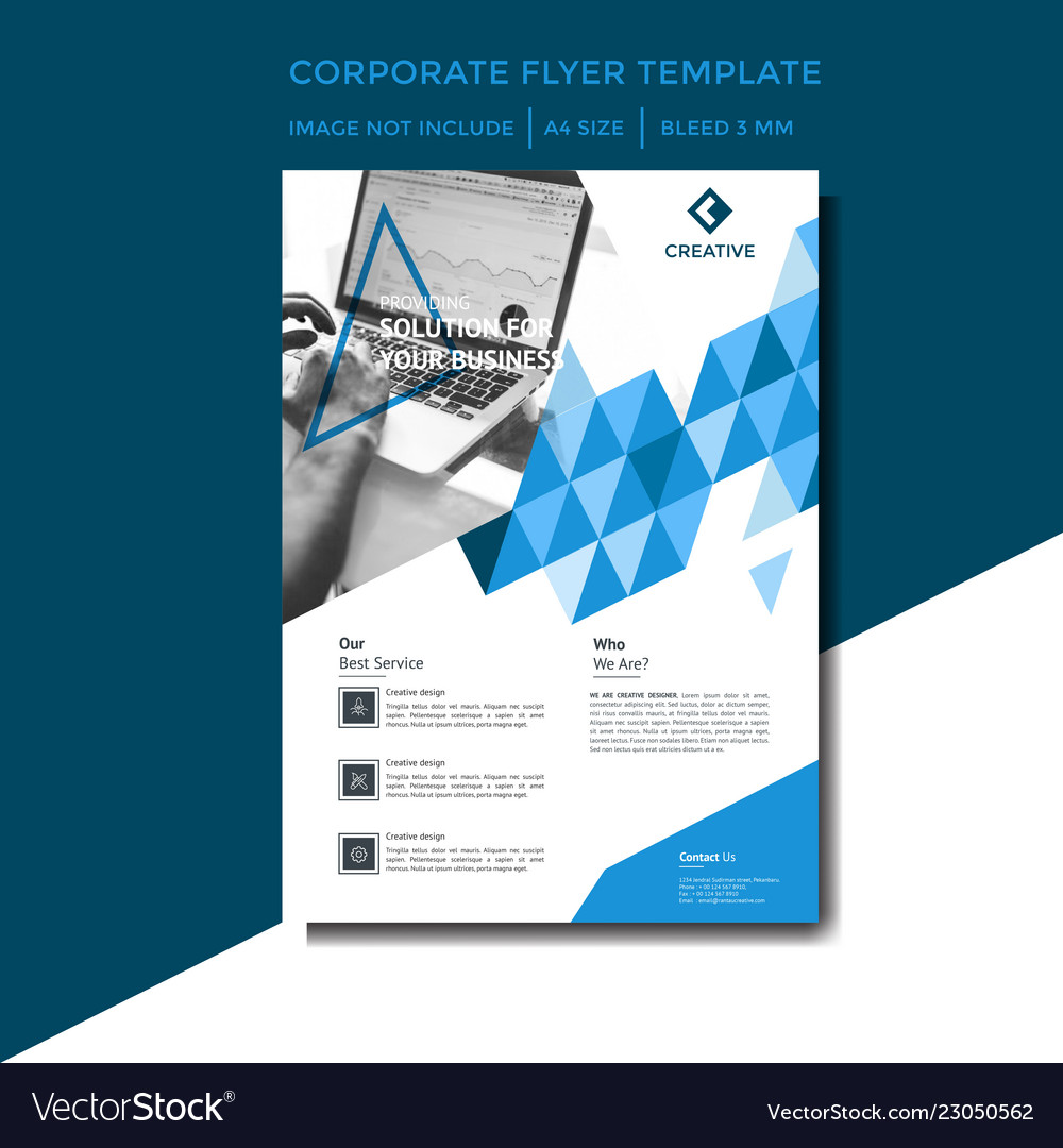 Corporate flyer template with blue color