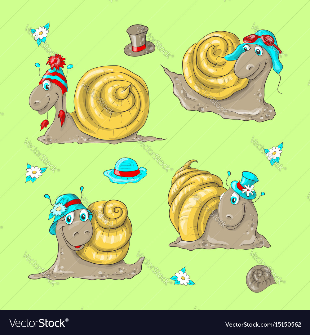 Cute funny cartoon snails in different hats
