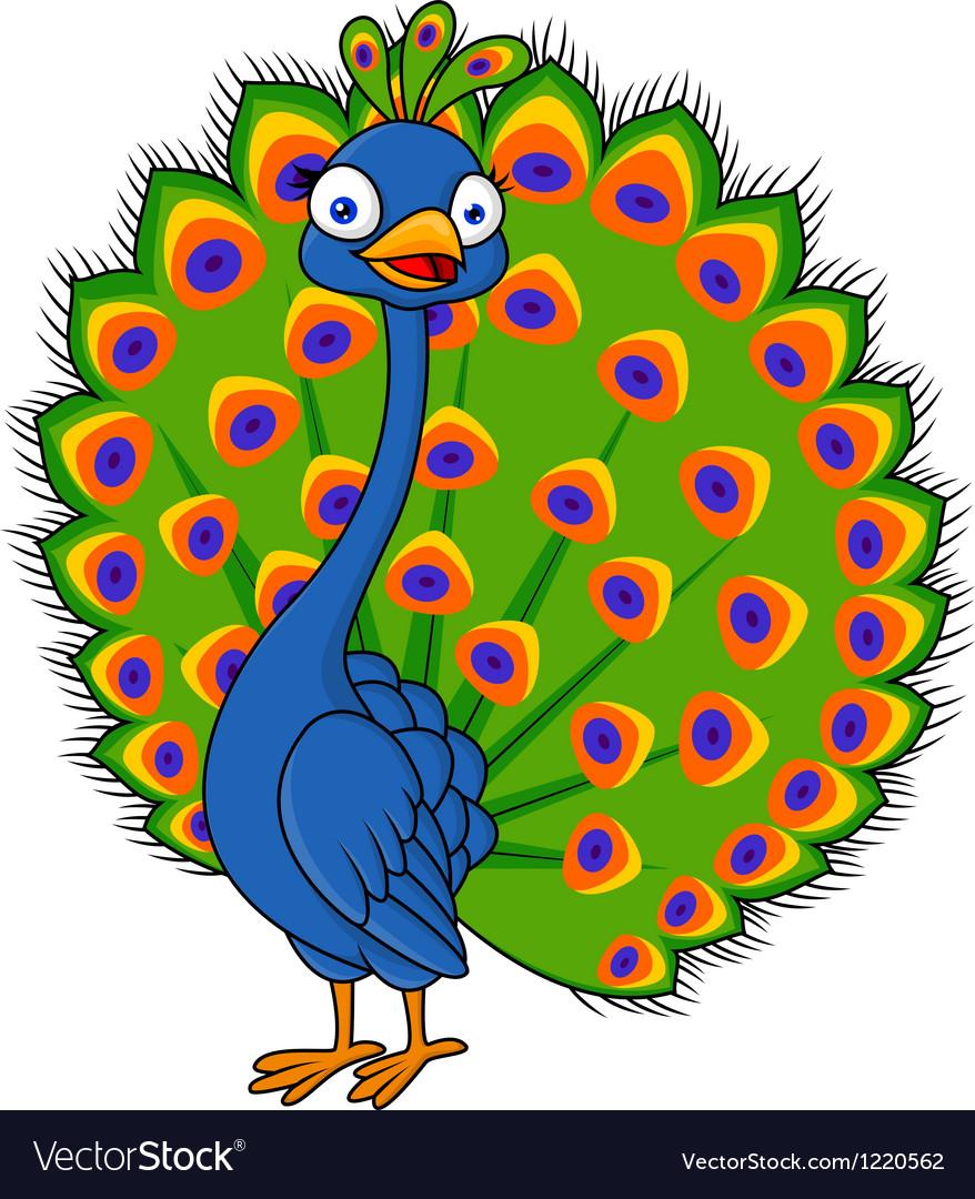 cute peacock cartoon royalty free vector image rh vectorstock com cartoon peacock drawing cartoon peacock feather