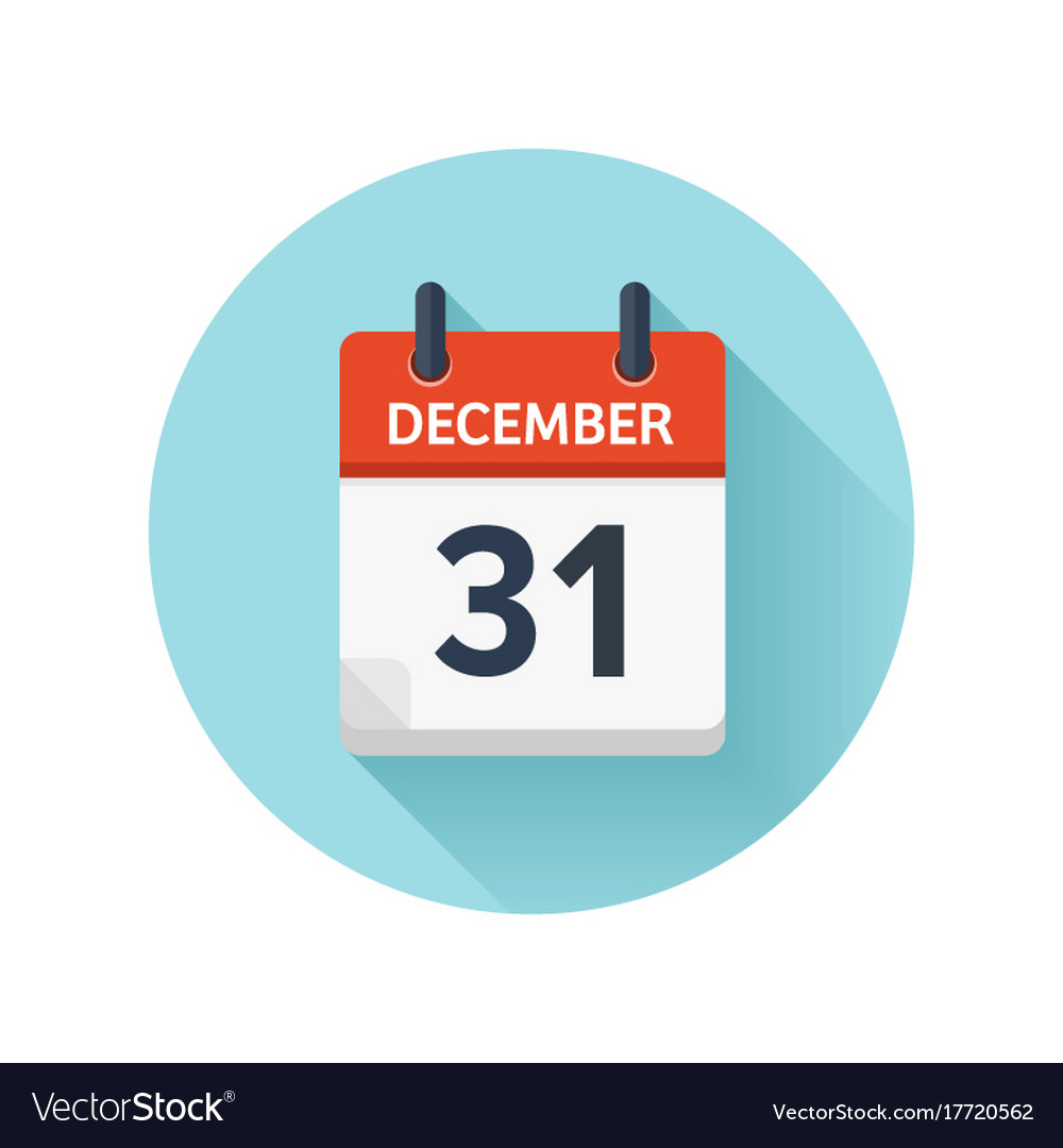 december 31 flat daily calendar icon date vector image