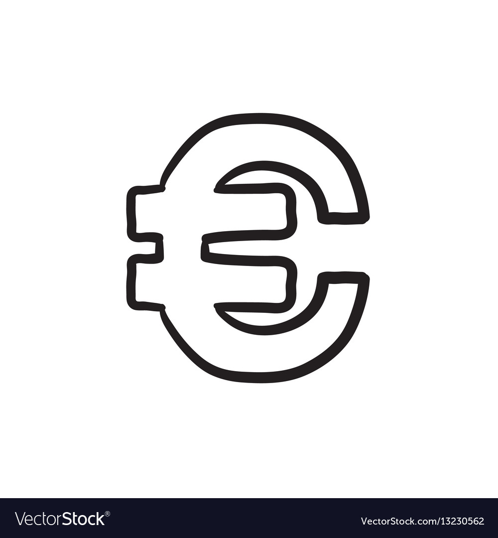 Euro Symbol Sketch Icon Vector Image