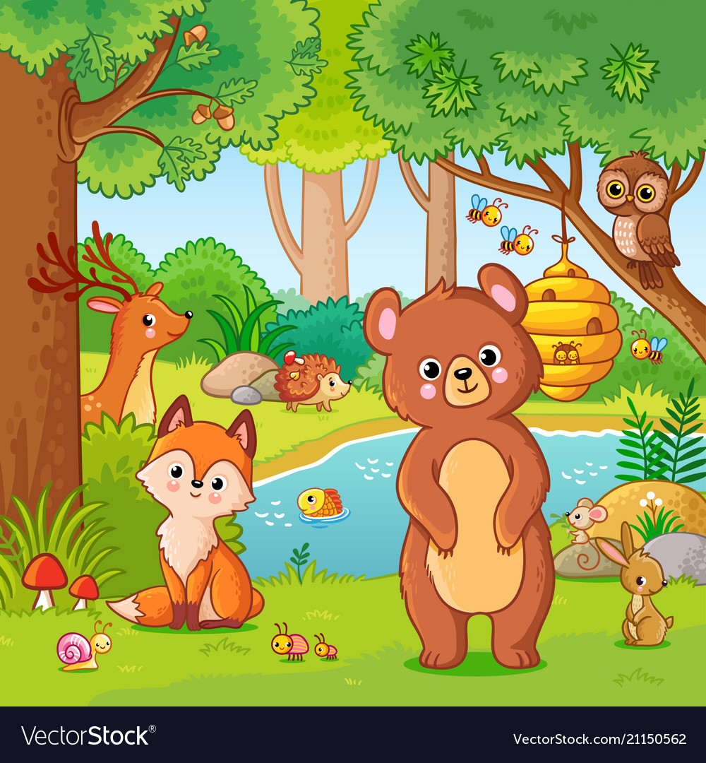Fox and bear in forest