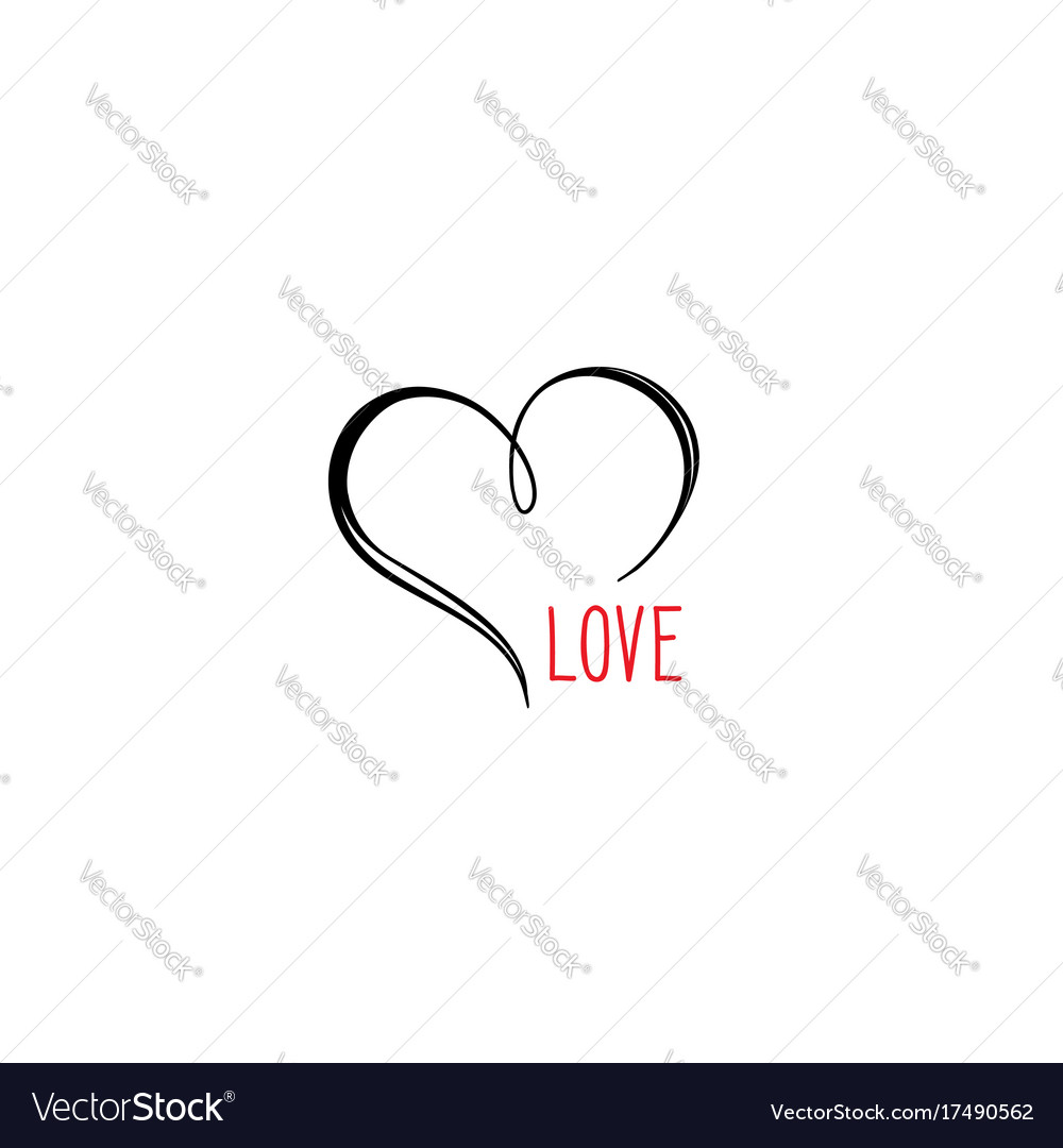 Love heart calligraphic gift card valentines