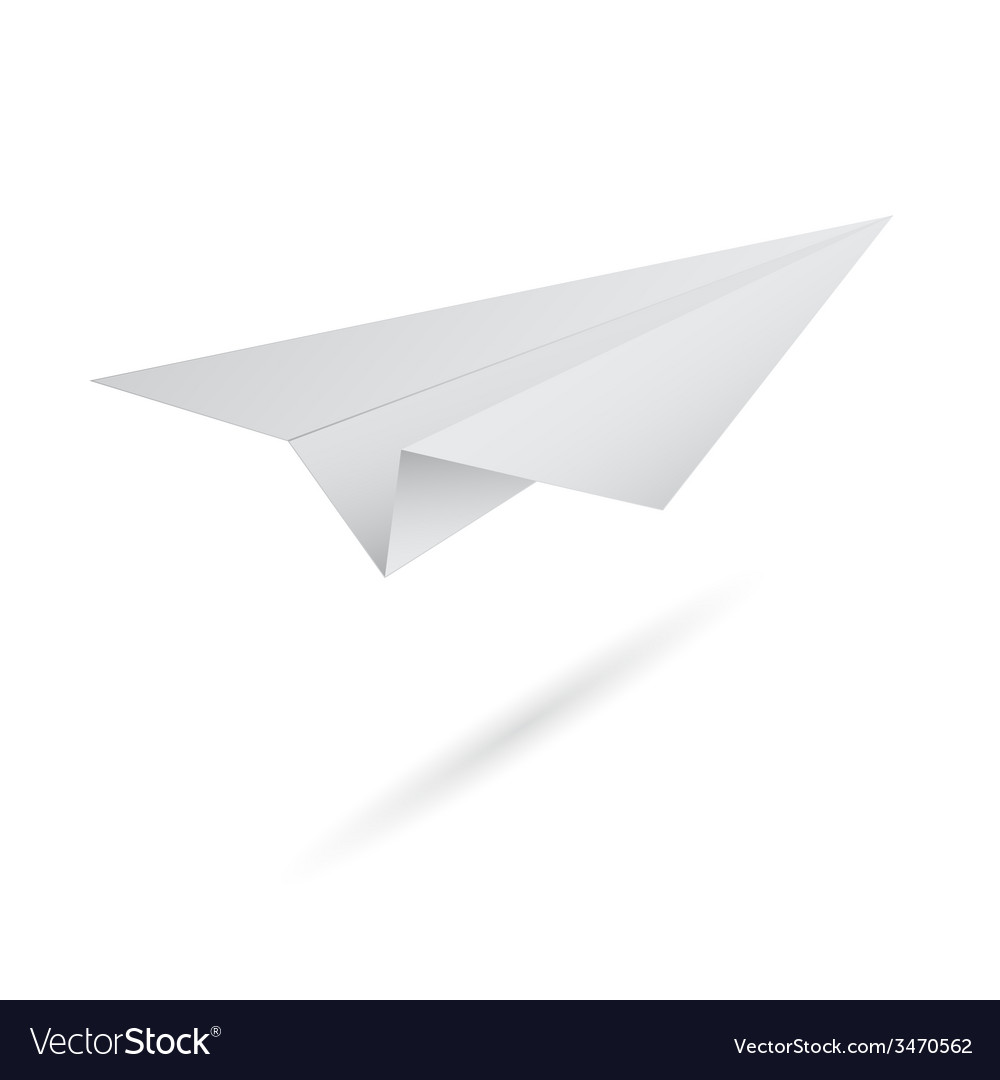 Origami flying paper airplane on white background