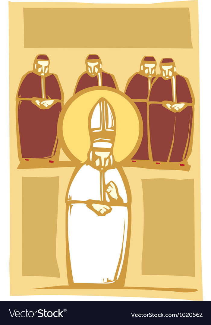 Pope and Cardinals vector image