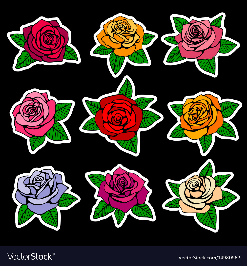 Roses fashion patches and stickers in