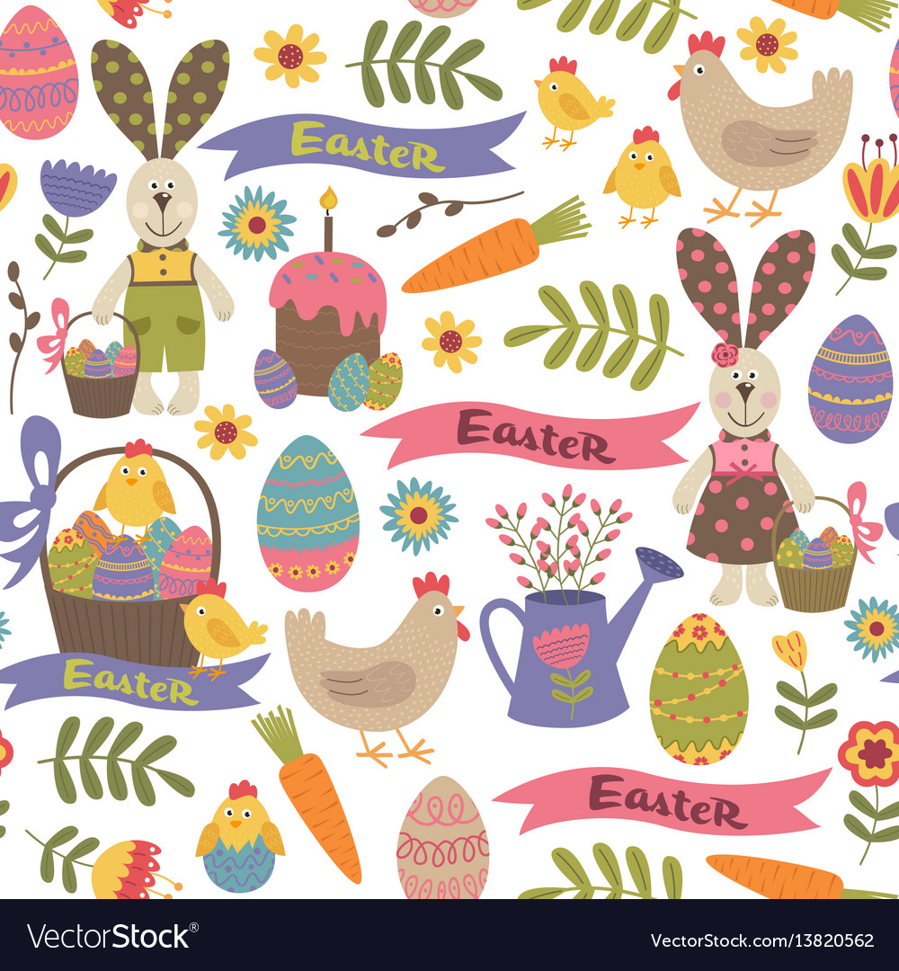 Seamless pattern with easter design elements