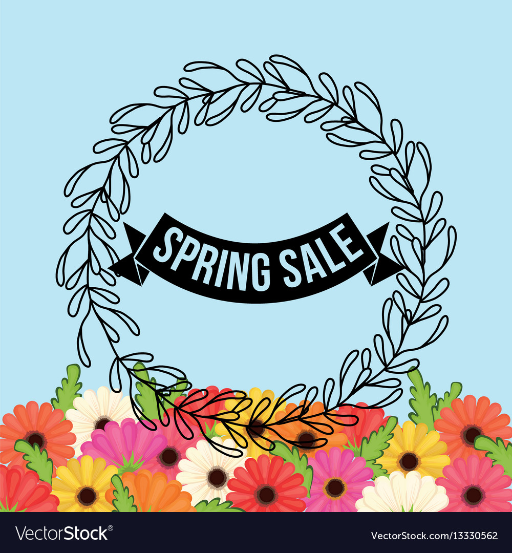 Spring sale flowers crown leaves festive vector image izmirmasajfo