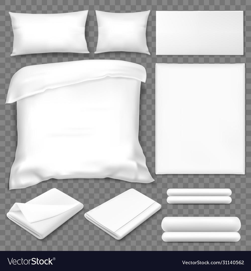 Top view double sleeping set white linen