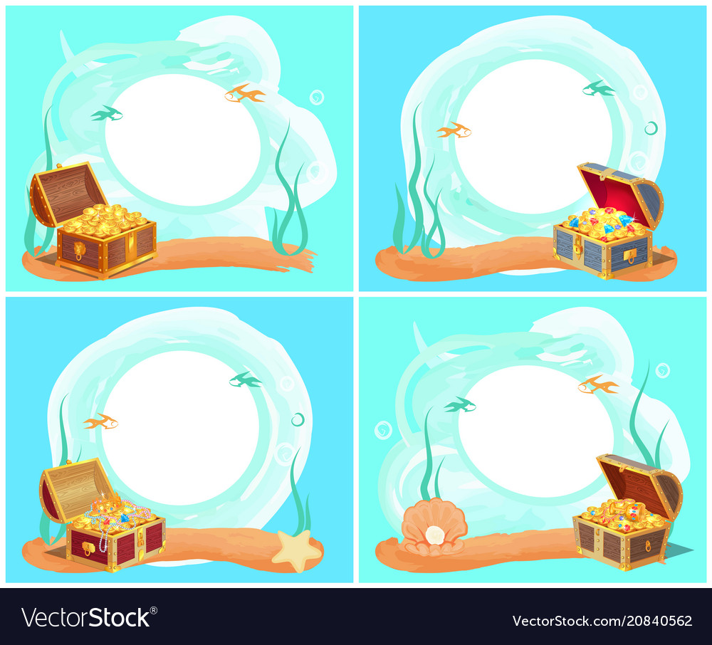 Treasures in chest sea water vector