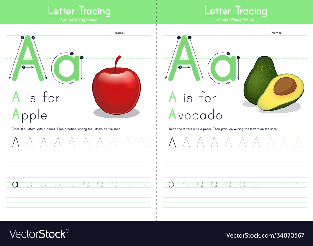 A for apple and for avocado
