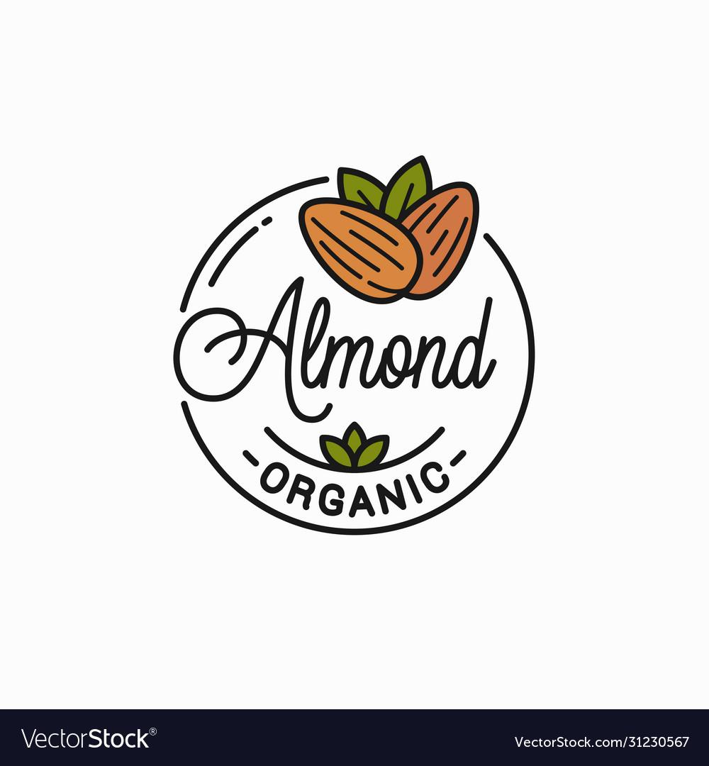 Almond nut logo round linear almonds on white