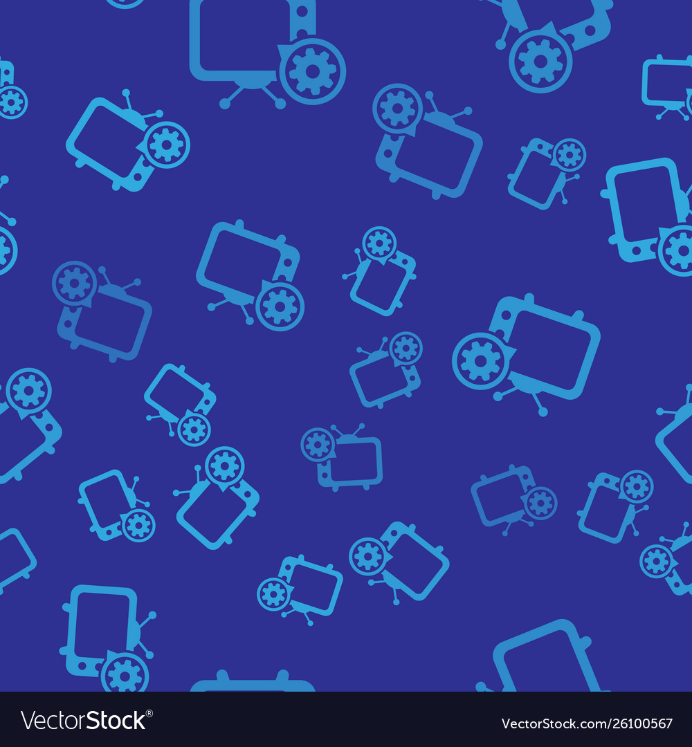 Blue tv and gear icon isolated seamless pattern