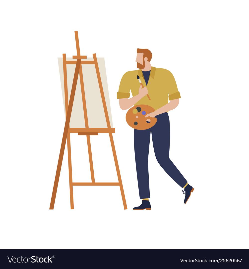 Cartoon artist isolated character in creative