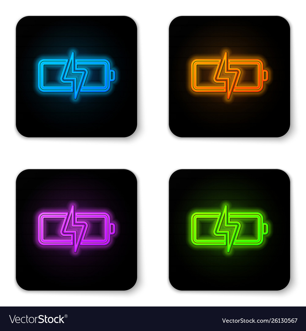 Glowing neon battery icon isolated on white