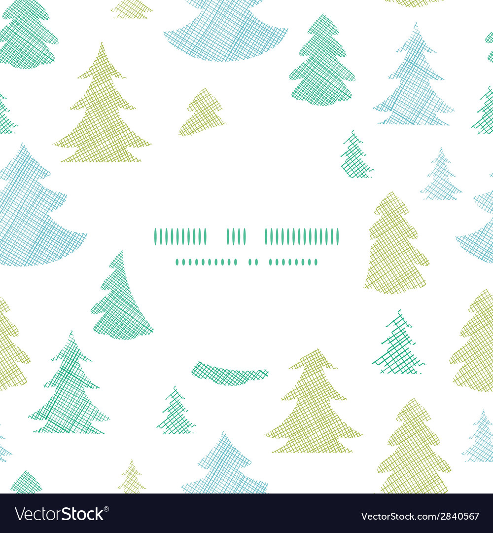 Green blue Christmas trees silhouettes textile
