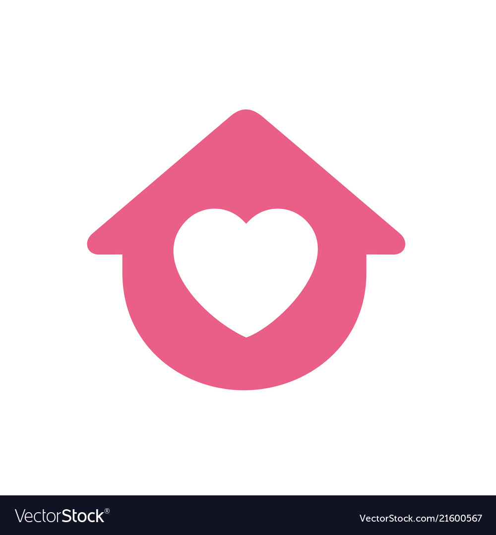 House symbol with heart shape logo icon