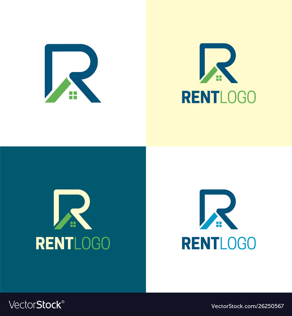 Rent letter r real estate logo and icon