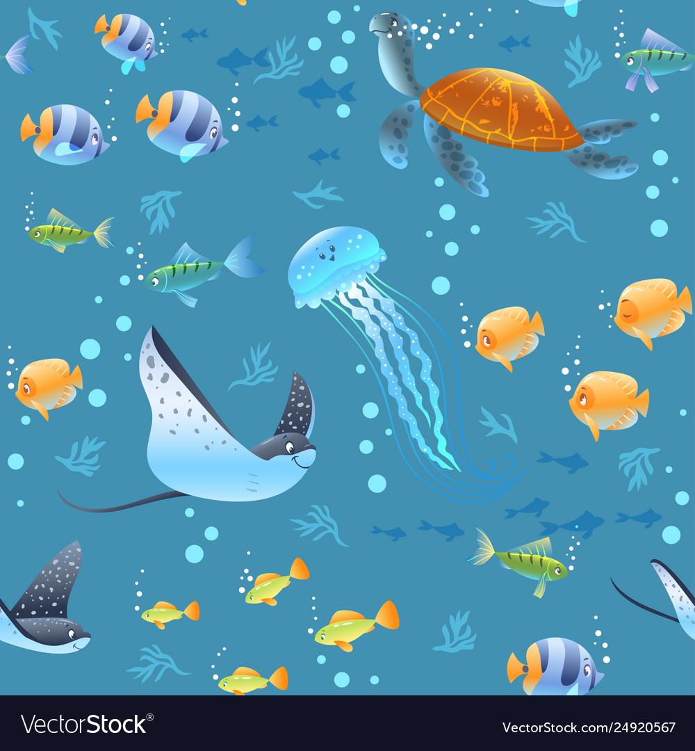 Sea Life Pattern Royalty Free Vector Image Vectorstock