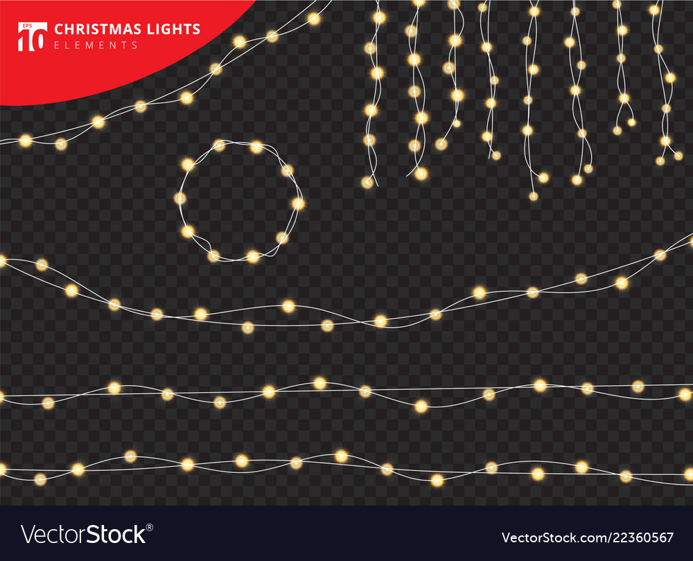 Set of christmas decorations glowing lights